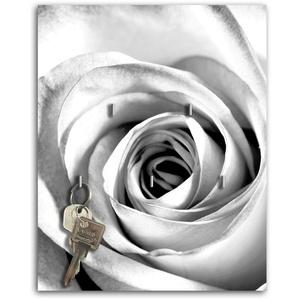 Dalinda Schlüsselbrett mit Design weiße Rose Schlüsselboard Schlüsselhaken SB233