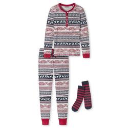 Schiesser Pyjama Geschenk-Set aus Bündchen-Pyjama und Kuschelsocken L = 40