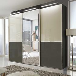 Schwebetüren Kleiderschrank in Creme Weiß und Braun 250 cm breit