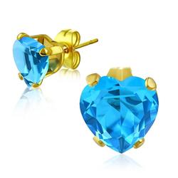 BUNGSA Ohrstecker-Set Ohrstecker blaues Kristallherz Gold aus Edelstahl (inkl. Schmuckbeutel aus Organza), Ohrschmuck Ohrringe Frauen Geschenk Liebe