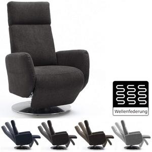 Cavadore TV-Sessel Cobra / Fernsehsessel mit Liegefunktion, Relaxfunktion / Stufenlos verstellbar / Ergonomie S / Belastbar bis 130 kg / 71 x 108 x 82 / Grau