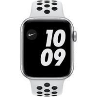 Apple Watch Series 6 Nike GPS 44 mm Aluminiumgehäuse silber, Nike Sportarmband Pure platinum/schwarz