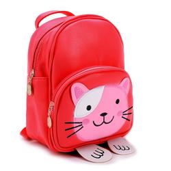 ANELY Kinderrucksack 2916, Süßer Rucksack in Leder Optik mit Katzen Motiv rot