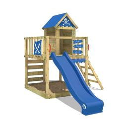Wickey Spielturm Klettergerüst Smart Life mit blauer Rutsche, Kletterturm mit Sandkasten, Leiter & Spiel-Zubehör