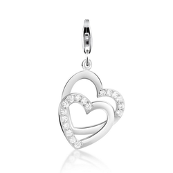 Nenalina Charm-Einhänger Herz Anhänger Zirkonia Kristalle 925 Silber