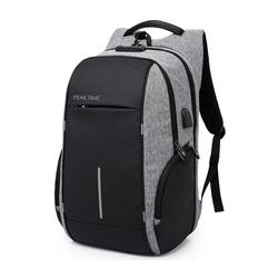 PEAK TIME Tagesrucksack PT-304, Cityrucksack mit praktischen Seitentaschen grau