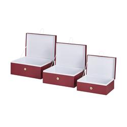 Basispreis* Aufbewahrungsboxen, 3er-Set ¦ rot ¦ Papier ¦ Maße (cm): B: 33,2 H: 14,8 T: 25,2