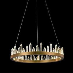LED-Hängelampe Crysto Ring Ø 60cm mit Glas-Kristallen Messing