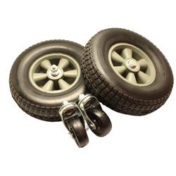 Radsatz 90 - 270 Liter Kessel, 250 mm Hartgummireifen mit vorderen Lenkrollen