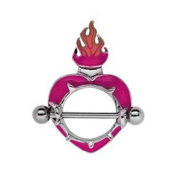 Adelia´s Brustwarzenpiercing Brustpiercing, Titan Intim Brust Piercing Schild Herz mit Flammen aus Pewter
