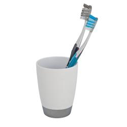 WENKO Vercelli Zahnputzbecher, Zur Aufbewahrung von Zahnbürsten und Zahnpasta, Maße: Ø 8 x 13 cm, Farbe: weiß