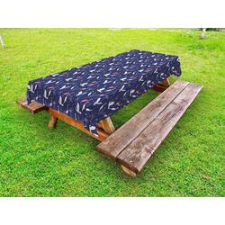 Abakuhaus Tischdecke dekorative waschbare Picknick-Tischdecke, Navy blau Flamingo Heron Pattern 145 cm x 210 cm