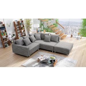 Küchen-Preisbombe Sofa Modernes Sofa Couch Ecksofa Eckcouch in Gewebestoff hellgrau mit Hocker Minsk R, Ecksofa + Hocker