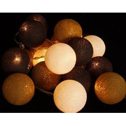 Guru-Shop LED-Lichterkette Stoff Ball Batterielichterkette 3xAA LED Kugel..