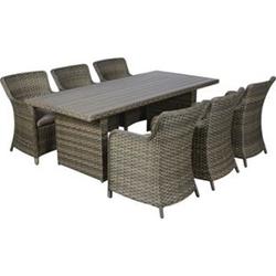 Øram 6+1 Polyrattan Sitzgruppe Gartenmöbel Garnitur Tisch Stuhl Essgruppe Garten