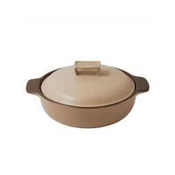 WALD Kochtopf Keramik-Kochtopfe groß flach, beige