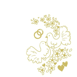Motivservietten Airlaid 40 x 40 cm `Goldene Tauben + Ringe` Hochzeit, 50 Stk.