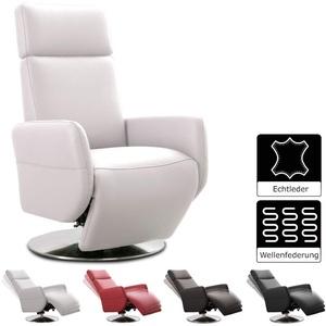 Cavadore TV-Sessel Cobra / Fernsehsessel mit Liegefunktion, Relaxfunktion / Stufenlos verstellbar / Ergonomie M / Belastbar bis 130 kg / 71 x 110 x 82 / Echtleder Weiß