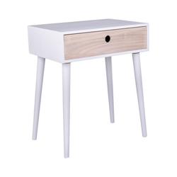 ebuy24 Nachttisch Pam Nachttisch mit 1 Schublade, natur und weiß.