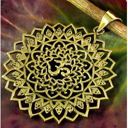 Guru-Shop Kettenanhänger Amulett Mandala Om - Kettenanhänger aus Messing