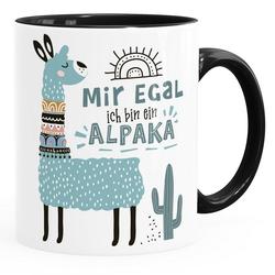 SpecialMe Tasse Kaffeetasse Spruch Mir egal ich bin ein Alpaka - Alpaka-Motiv Lama Geschenk Alpaka-Liebhaber Bürotasse SpecialMe®, Keramik schwarz
