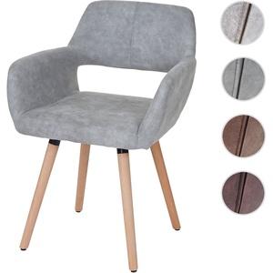 Esszimmerstuhl HWC-A50 II, Stuhl Küchenstuhl, Retro 50er Jahre Design ~ Textil, vintage betongrau, helle Beine