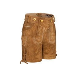 PAULGOS Trachtenhose PAULGOS Kinder Trachten Lederhose kurz - KK1 - Echtes Leder - Größe 86 - 164 146