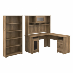 Cabot 60W L Shaped Computer Desk with Hutch and 5 Shelf Bookcase Reclaimed Pine - Bush Furniture