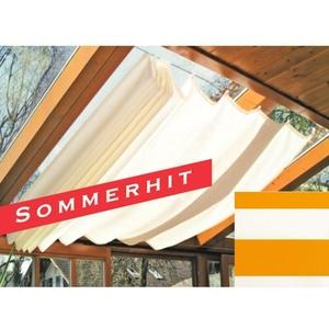 Sonnensegel Seilspannmarkise f. Pergola Wintergarten Haken 265x145cm Orange Weiß