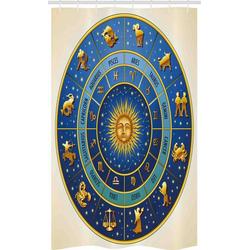 Abakuhaus Duschvorhang Badezimmer Deko Set aus Stoff mit Haken Breite 120 cm, Höhe 180 cm, Astrologie astrologische Zeichen
