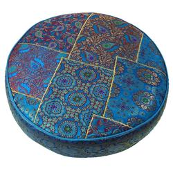 Guru-Shop Sitzkissen Orientalisches rundes Patchwork Kissen 40 cm,.. blau