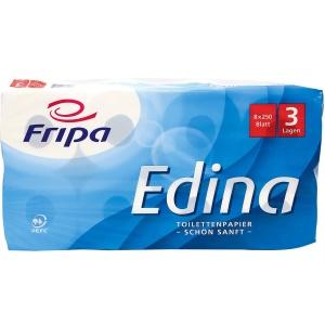 Fripa Edina Toilettenpapier, 3-lagig, Aus 100% chlorfrei gebleichtem Zellstoff, hochweiß, 1 Packung = 8 Rollen à 250 Blatt