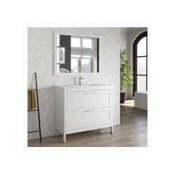 Lomadox Waschtisch-Set TARIFA-110, (Spar-Set, 2-tlg), Badmöbel Landhaus Waschtisch mit Keramikbecken & Landhaus-Spiegel matt weiß, B/H/T ca. 101/200/45cm weiß 101 cm x 200 cm x 45 cm