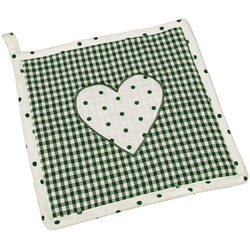 matches21 HOME & HOBBY Topflappen Topflappen Landhaus Premium Karo Punkte Herz 16x16 cm, (1-tlg) grün
