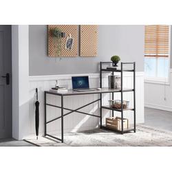 HomeGuru Schreibtisch Schreibtisch mit 3 Regale, Industrie-Design, Vintage, 140*75-120*60 cm 140 cm x 120 cm x 60 cm