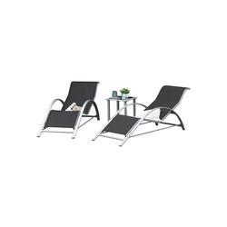 Outsunny Gartenliege 2er Set Gartenliegen mit Tisch
