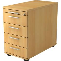 bümö Container OM-SC50 mit Schloss & 5 Schubladen - Schreibtisch Bürocontainer, Standcontainer fürs Büro - Dekor: Buche braun