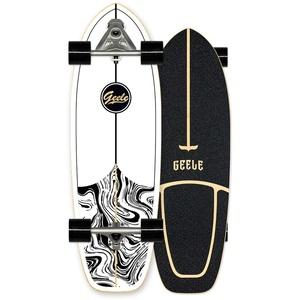 WRISCG Surfskate Carver Skateboard Carving Pumpping (flexiblere Federstrukturbrücke), 78×24cm Ahornholz Komplettboard Skateboard, ABEC-11 Kugellagern, für Surfskate Fortgeschrittener Spieler,D