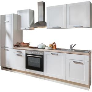 Küchenzeile mit Elektrogeräten Einbauküche Küchenblock 280 cm Lacklaminat Weiß