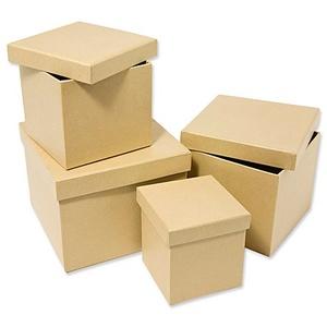 Quadratische Schachteln, 14 x 14 x 11 cm, 12 x 12 x 10 cm, 10 x 10 x 9 cm und 8 x 8 x 8, 54 Stück