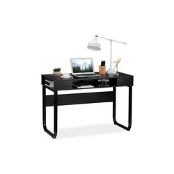 relaxdays Schreibtisch Schreibtisch mit 3 Ablagefächern schwarz