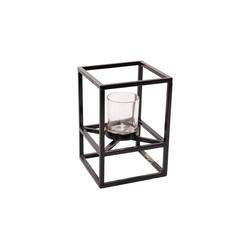 Parts4Living Teelichthalter Teelichtrahmen aus Metall Kerzenhalter Teelichtschale mit Glaseinsatz schwarz 16x16x22 cm, stilvolles Design