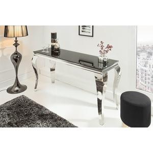 riess-ambiente Konsolentisch MODERN BAROCK 140cm schwarz, Tischplatte aus Opalglas · Edelstahl-Beine