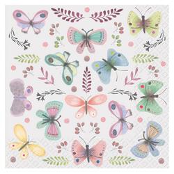 stewo Papierserviette Schmetterlinge pastell, 33 cm x 33 cm