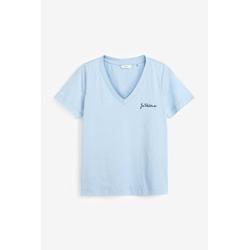 Next T-Shirt Besticktes T-Shirt mit V-Ausschnitt blau 50