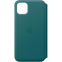 Apple iPhone 11 Pro Max Leder Folio Case Pfauenblau