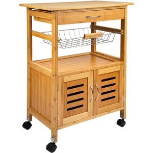ONVAYA® Küchenwagen Tokio | Küchenrollwagen aus Holz | Weiß | Bambus | Beistellwagen mit Rollen (Bambus Küchenwagen)