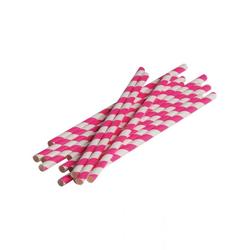 Horror-Shop Einweggeschirr-Set Pink-weiße Party Strohhalme aus Papier 12 Stück, Papier