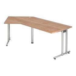 Lüllmann Schreibtisch Freiformtisch Schreibtisch New York 720 x 2100 x 1130/800 mm C-Fuß Design braun
