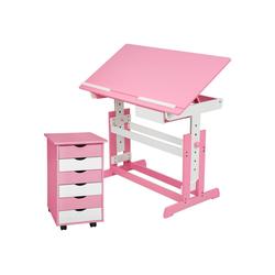 tectake Kinderschreibtisch Kinderschreibtisch und Rollcontainer (1-St) rosa